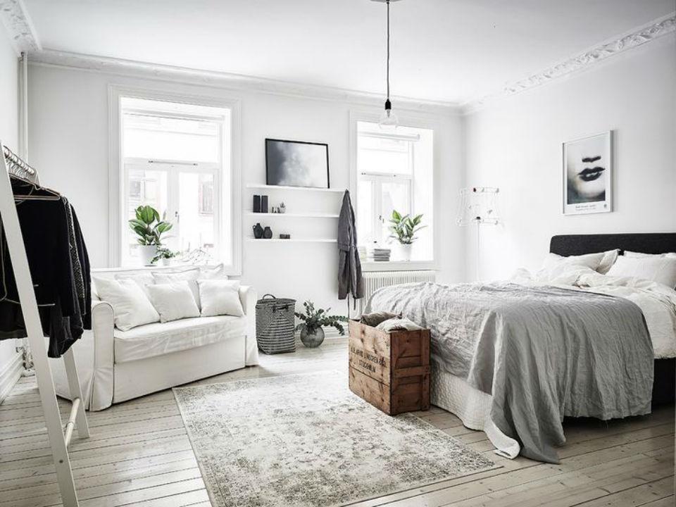 sypialnina w stylu skandynawskim