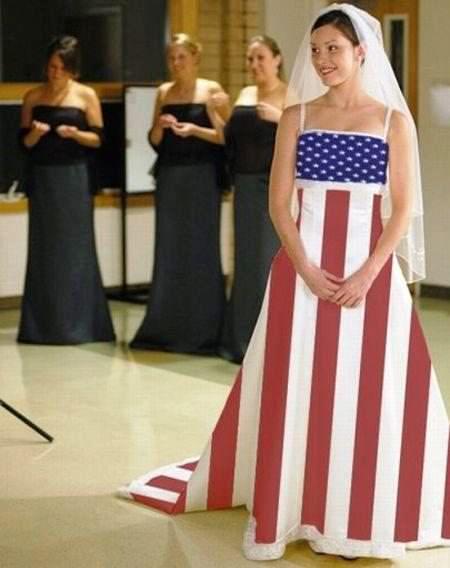 suknia ślubna flaga